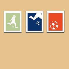 Soccer Boy Silhouette, SET of THREE, Sports Modern Prints, Playroom Wall Art,  Teen Wall Art, Childrens Room Decor, Custom Colors, 11x14. $17.00, via Etsy.