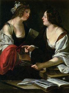 Allegory of Painting and Architecture (c.1620). Francesco Rustici (Italian, 1600-1625). Galleria degli Uffizi, Florence, Italy. Oil on canvas. Rustici, a painter of the Baroque period, was also known as Il Rustichino. He was initially a pupil of his father Cristoforo Rustici, then became a follower of the style of Caravaggio. Francesco painted an Annunciation for the church of the Madonna di Provenzano in Siena. He painted a Death of Mary Magdalen and St. Sebastian.