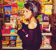 i wish i could pull of wearing a bandana and shopping for candy at the same time.