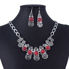 Round Turquoise Tibet Silver Bib Statement Fringe Chain Necklace Earrings Set #Handmade #Chain