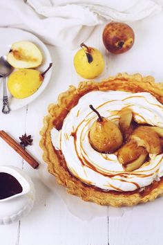 Milk Tart with caramelized pears