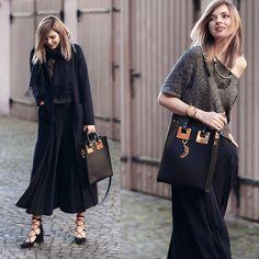 Jana Wind - Zara Coat, Sophie Hulme Bag - Long blue coat