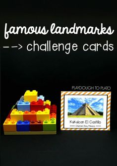 Awesome STEM challenge! Build famous landmarks from around the world. Fun STEM center, makerspace or engineering project for kids! Lego Activities, Steam Activities, Geography Activities, Lego Games, Enrichment Activities, Scout Activities, Educational Activities, Toddler Activities, Legos