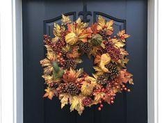 Autumn Sunset - Wreaths - Fall Home Decor - Oktoberfest - Gourds - Autumn Harvest Wreath
