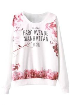 To find out about the White Round Neck Long Sleeve Monogram Floral Print Sweatshirt at SHEIN, part of our latest Sweatshirts ready to shop online today! Printed Sweatshirts, Hoodies, Fashion Sweatshirts, Crew Neck Sweatshirt, Pullover, Sweat Shirt, Types Of Fashion Styles, Long Sleeve Tops, Manhattan