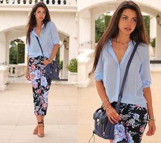 Floral print skinny ankle pant, pale powder blue sheer blouse, navy bag, strappy sandal...Zara Blouse, Asos Pants, 3.1 Phillip Lim Bag