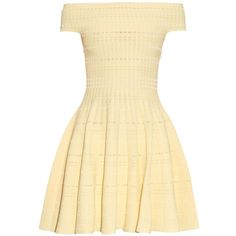 Alexander McQueen Off-the-shoulder knitted mini dress ($1,278) ❤ liked on Polyvore featuring dresses, vestiti, yellow, beige short dress, off shoulder mini dress, yellow cocktail dress, alexander mcqueen dresses and off the shoulder short dress