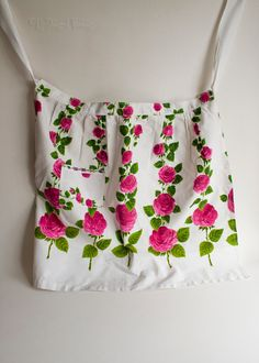 Vintage Homemade 1950s Pink & White Floral Housewife Baking Apron by UpStagedVintage on Etsy