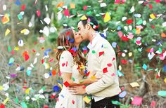 Add some color to your engagement shoot with confetti.