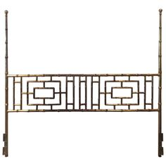 Vintage Faux Bamboo Chinese Chippendale King-Size Headboard Bed Geometric   From a unique collection of antique and modern beds at https://www.1stdibs.com/furniture/more-furniture-collectibles/beds/