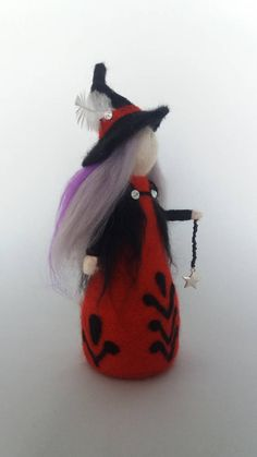 Needle felted waldorf inspired Crone doll witch.Autumn