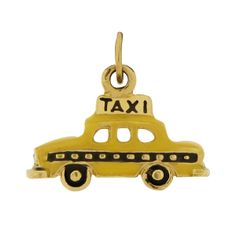 New York City Yellow Taxi 14k Gold Charm