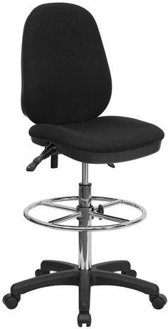 Black Multi-Functional Ergonomic Drafting Chair with Adjustable Foot Ring -Black…
