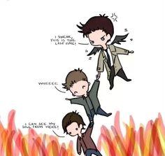 Supernatural....Castiel pulling Sam & Dean from hell