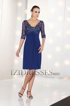 A-Line/Princess V-neck Knee-length Chiffon Lace Mother Of The Bride Dress