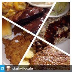 #Repost @starkvillecafe・・・THURSDAY - Grilled Pork Loin, Pulled Pork, Boneless Fried Chicken, Smoked Brisket SIDES - reg & Jalapeño cole slaw, fried okra, babyduck greens, green beans, scallop potatoes, candied sweet potatoes, butter peas DESSERTS - bread pudding, banana pudding, choc layer dessert