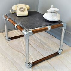 retro-industrial slate, scaffold & smoked oak coffee table