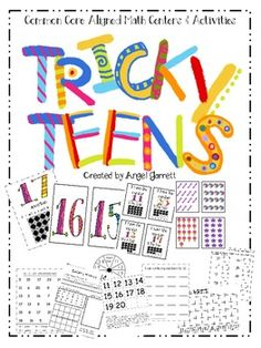 This is an awesome set of Posters, Cards, Games, Recording sheets, and assessments for those tricky teen numbers.    Included in this packet:  1.  Tricky Teens book or posters with poems and ten frames.  2.  Teen Tangle Spinner and Teen Number Cards.  3.