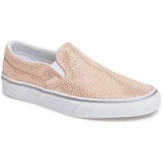 VANS Classic Slip-On Sneaker (Women) ($23) ❤ liked on Polyvore featuring shoes, sneakers, slip on shoes, slip on trainers, vans footwear, vans sneakers and slip-on sneakers