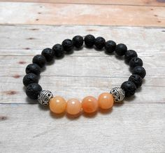 Orange Jade & Lava Rock Gemstone Bracelet by SpiritualPathways, $12.00