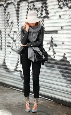 Just The Design: Helena Glazer is wearing a black Maje leather jacket with a pair of Current skinny jeans and Jeffrey Campbell heels