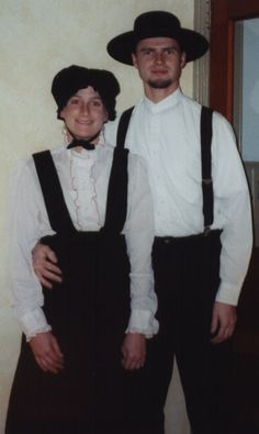These are not amish.  They don't wear this type of dress and they would NEVER wear that blouse ever!  It has red ruffles on it.