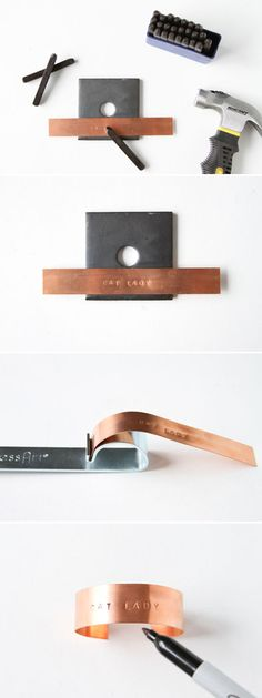 How To Make Stamped Metal Jewelry need metal strip and metal block. & letters.