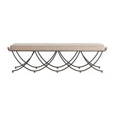 Felice Iron Brass Linen Contemporary Open Base Linen Bench