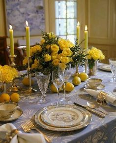 Art de la table | blue and yellow flowers decoration #fine porcelains