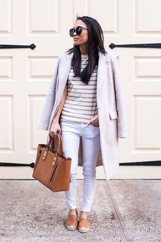 spring outfit, fall outfit, casual outfit, comfy outfit, spring fashion, fall fashion, street style - cream coat, beige stripe t-shirt, white skinny jeans, brown espadrilles, brown handbag, black sunglasses