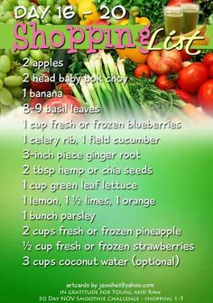 #YoungAndRaw 30 Day Smoothie Challenge - November 2013- Shopping List - Days 16-20