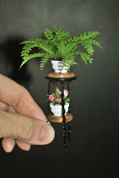 Dollhouse Miniature Wood Plant Stand Fern and Flowers Z