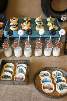 Cars party...i like the donuts on a stick