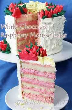 This Chocolate Raspberry Mousse Cake is perfect for any special occasion! With a fudgy brownie base and THREE layers of mousse, it's a showstopper! Matilda Chocolate Cake, Too Much Chocolate Cake, Hershey Chocolate Cakes, White Chocolate Cake, Tasty Chocolate Cake, Chocolate Filling, Chocolate Frosting, Avacado Chocolate Cake, Chocolate Raspberry Mousse Cake