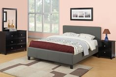 Esofastore Simple Faux Leather Upholstery Grey Color Block Style Platform Bed in Queen Size w Matching Black Dresser Mirror Nightstand Bedroom Set Furniture, Bedroom Sets, Bedroom Furnishings, Bed Frame Design, Air Mattress Frame, Bed Furniture, Mattress Frame, Bedroom Set, Leather Platform Bed