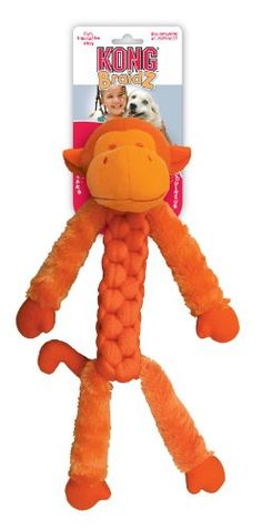 $11.42-$15.49 BraidZ Fuzzy Monkey toys are tightly braided for strength yet stretchy for a great game of tug and fetch. Fuzzy Monkeys have long, soft fuzzy limbs which dangle in a way dogs find tough to resist. Each monkey squeaks and is available in three sizes (small, medium and large) and sold in an assortment of three vibrant colors (blue, purple, orange). Your dog will love you for it!