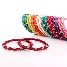 Silk Thread Bangles - Flower Beads | #Wedtree #JewelryGifts #OnlineWeddingShopping