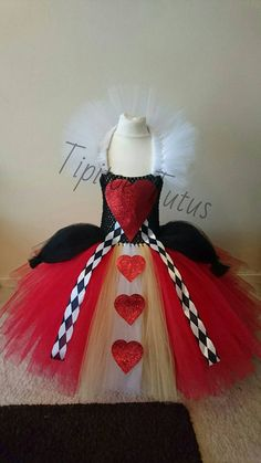 Queen of hearts inspired tutu style dress by TipitoeTutus on Etsy