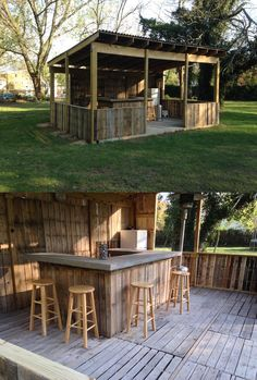 Outdoor Bar and Grill (or kitchen) with recycled pallets.