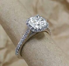 Cathedral style cushion cut diamond halo by MichaelPatrickHogan