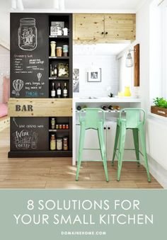 8 Solutions For Your Small Kitchen // kitchens, organization, tips