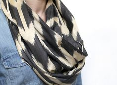 Silk Ikat Infinity Scarf Indigo Chevron print by eclu on Etsy