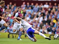25 August 2012 Nikita Jelavic meets a cross from Leighton Baines to turn home Everton's third during a 3-1 victory at Villa Park