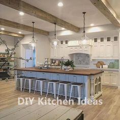 Farmhouse kitchen design Kitchen layout + Pottery Barn pendant lights An In-Depth Revi Farmhouse Kitchen Island, Modern Farmhouse Kitchens, Diy Kitchen, Kitchen Ideas, Kitchen Cabinets, Kitchen Inspiration, Kitchen Islands, Kitchen Designs, Huge Kitchen