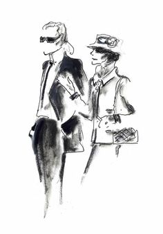 An Imaginary Meeting Between Coco Chanel and Karl Lagerfeld.  Original drawing by Karl Lagerfeld.
