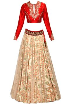 Red floral embellished blouse and blush pink overlayer lehenga set available only at Pernia's Pop Up Shop.