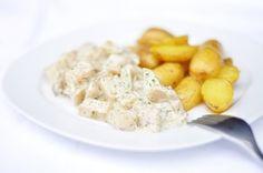 suppentopf: Kohlrabi in Dillsauce mit gebackenen Zitronenkartoffeln