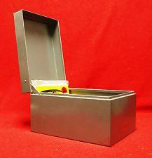 VINTAGE DESK TOP FILE BOX...GREY METAL BOX BY WEIS & PKG TOPS DIVIDERS...MINT   $3.95