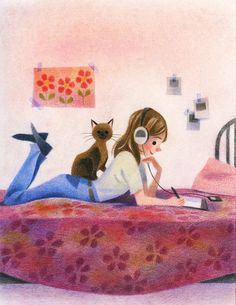 Morgan & her kitty I Love Cats, Crazy Cats, Art And Illustration, Cat Drawing, Cat Art, Cats And Kittens, Illustrators, Cat Lovers, Book Art