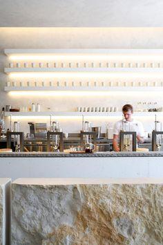 "The Samovar Tea Bar at the Mission in San Francisco. ""Fresh, modern, white, concrete and ceramics heaven."""